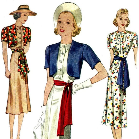 Vintage 30s Dress Pattern- TLC- Missing Bolero Pieces- Size 14- Bust 32- Simplicity 1786
