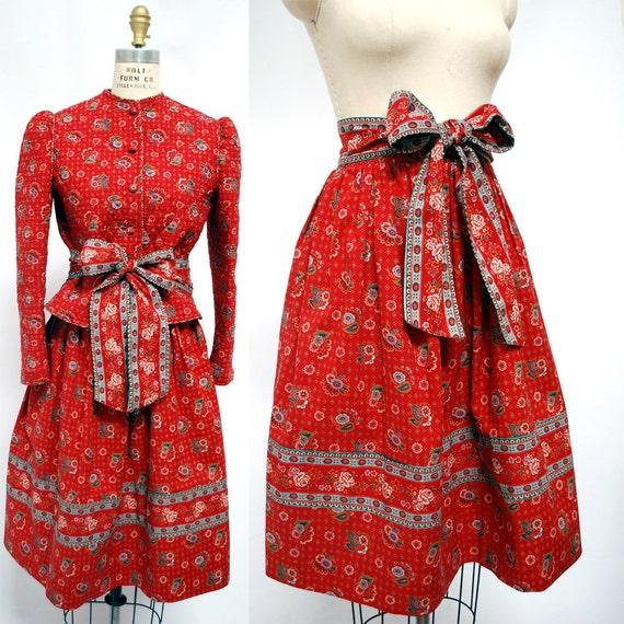 Vintage Vera Bradley Cotton Skirt, Belt, and Quilted Jacket-  Prairie Style