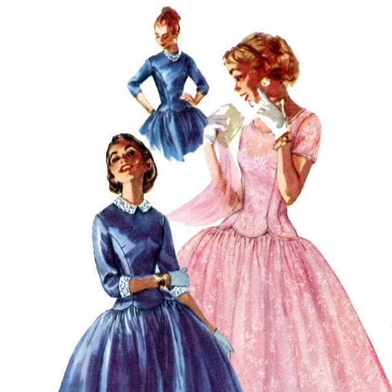 Vintage 50s Day or Party Dress Pattern- B 31- Simplicity 1373