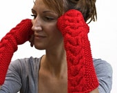 Red long cable fingerless gloves,arm warmers,mittens,womens knit gloves,texting gloves,wrist warmers,half finger gloves