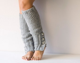 Grey Knit leg warmers  with buttons slouchy leg warmers knit leggings boot leg warmers boot socks spats knit accessories
