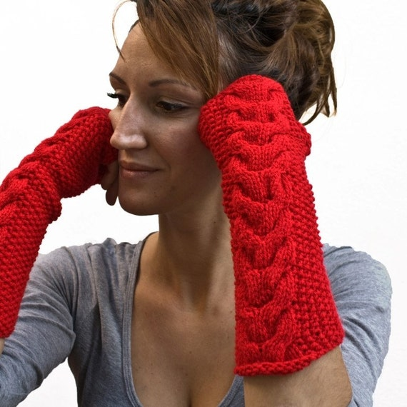 Red long cable fingerless gloves arm warmers mittens womens knit gloves texting gloves wrist warmers half finger gloves