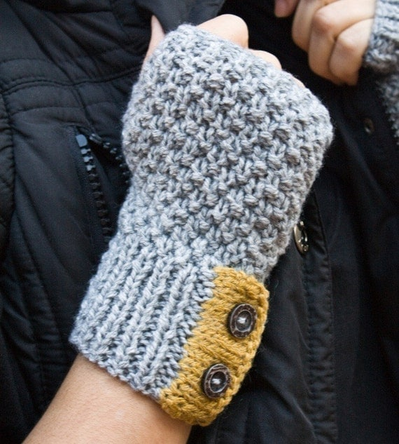 Grey knit fingerless gloves with yellow detail