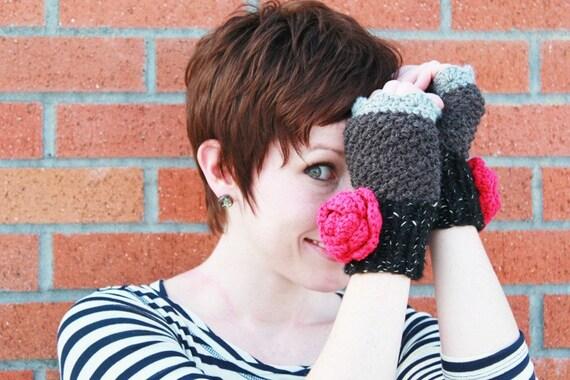 Knit fingerless mittens, gloves in black grey with fuchsia flower