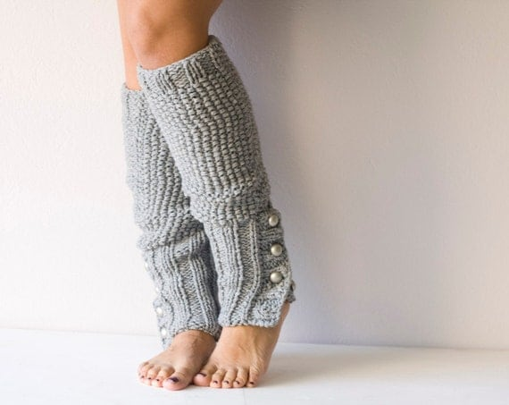 Grey Knit leg warmers  with buttons,slouchy legwarmers,knit leggings,boot legwarmers,boot socks,spats,winter knit accessories