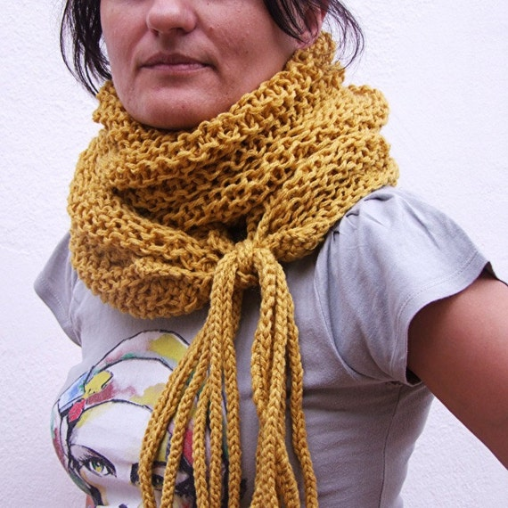 Wrap cowl in mustard yellow
