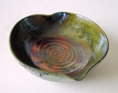 Forest Green and Copper Raku Heart Bowl