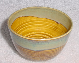 Beautiful Tea Bowl in Amber, Sage Green and Blue