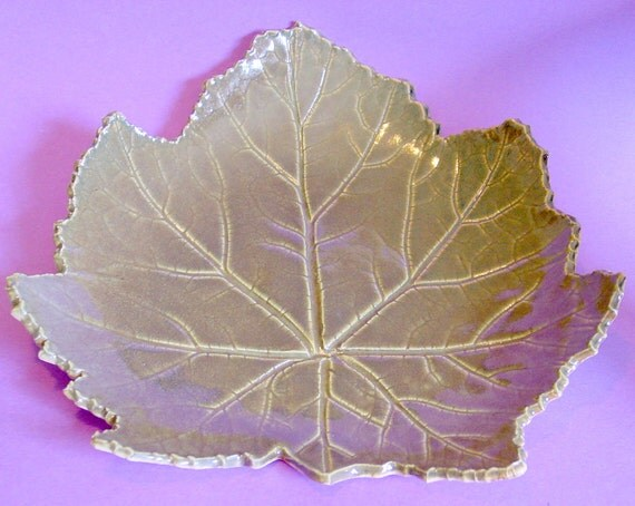 Large Green Leaf Platter or Serving Tray