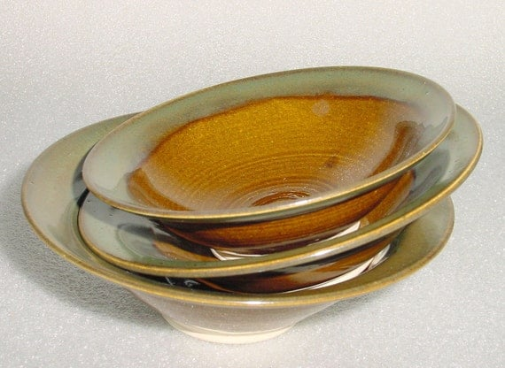 Set of 3 Nesting Bowls - Amber and Blue Green