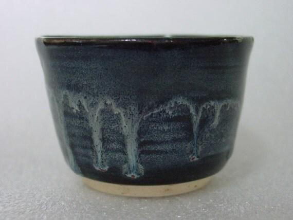 Black Tea Bowl or Sake Cup with Light Blue Trailings