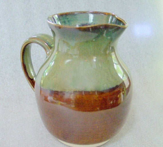 Pottery Pitcher in Amber Sage Green and Blue