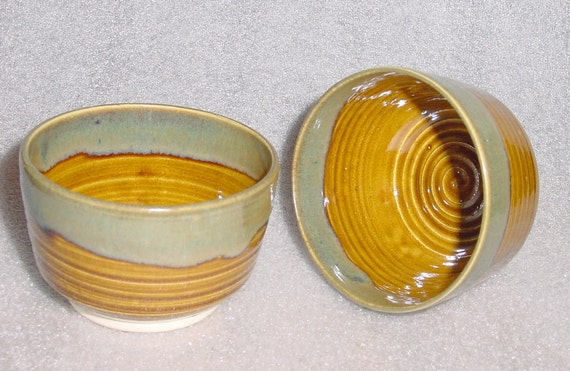 Set of Two Beautiful Wheel Thrown Pottery Tea Bowls in Amber, Sage Green and Blue