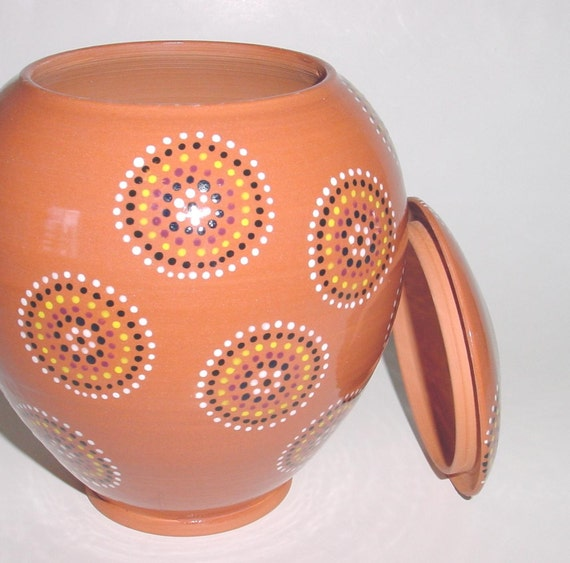 Hand Painted Terra Cotta Lidded Container or Jar