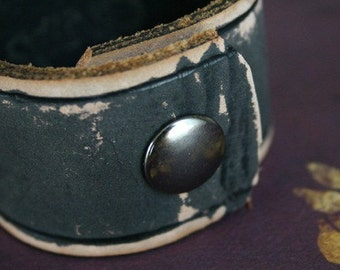 His or Hers Leather Cuff Bracelet. Recycled Leather Belt, upcycled, revamped, CUSTOM