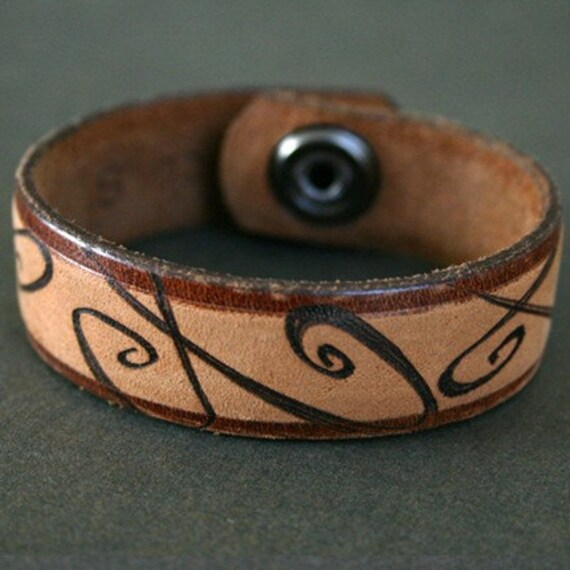 Spiral Leather Cuff Bracelet, Recycled Belt, Branded by Stacy Traynor