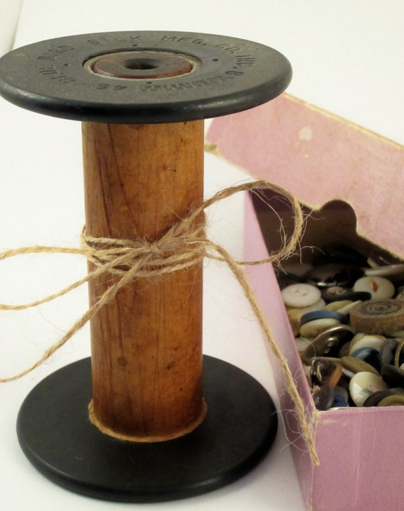 Vintage Wood Spool from the Blue Bird Silk Mfg., Co. 8 Lestershire 46, Plant Stand, Photo Prop, Candle Holder