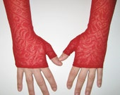 Fingerless Red Lace Gloves