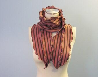 Fisherman's Daughter organic ruffle seaweed scarf/ rose stripe