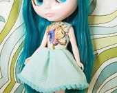 Teal merry-go-round party dress for Blythe