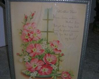 mothers day poem Vintage   1946 Mother dear  PRINT PINK FLOWERS