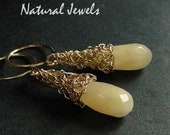 Yellow Jade - 14 Karat Goldfilled Organic Earrings with a faceted briolette of Yellow Jade
