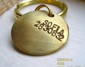 Medium size - 1 inch - Custom personalized pet ID tag - Convexed Brass