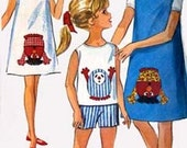 Vintage 1960s GONK Skimmer Dress or Jumper, Top and Shorts Sewing Pattern Simplicity 5950 60s Fun Fad Pattern w/ GONK Transfer Size 10 UNCUT