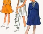 1960s A LINE Emipre Mini Dress w/ CROPPED Jacket/Bolero Butterick 5159 Vintage 60s Cutest Sewing Pattern Size 8