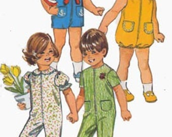 Vintage 1970s Toddlers Jumpsuit or Bubblesuit or Nautical Sailor Shortset Simplicity 9290 Childrens 70s Pattern Size 1 UNCUT