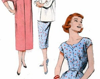 CLEARANCE SALE 1950s Sheath Dress and Coat or Shortie Butterick 6955 Vintage 50s ROCKABILLY Sewing Pattern Size 14 Bust 32