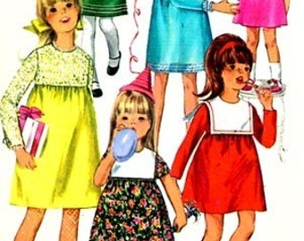 Vintage 1960s Girls Dress with Sailor or Petal Collar Sewing Pattern Simplicity 6811 60s Childrens Sewing Pattern Size 6 Breast 24