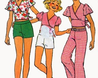 Vintage 1970s Girls Fitted Midriff Top w/ Surplice Bodice, Shorts and Pants Sewing Pattern Simplicity 6954 70s Retro Pattern Size 7 B 26