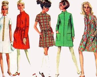 Vintage 60s Simplicity 7366 Womens MOD TWIGGY Mini Step in  A Line Dress Sewing Pattern Size 16 B36 Uncut