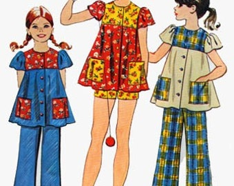 1970s Girls Smock Top and Pants or Shorts Simplicity 5602 Vintage 70s Sewing Pattern Size Chubbie 14.5
