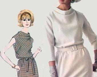 1960s Designer Dress Simplicity 6166 Blouson Bodice and Cowl Neckline Vintage 60s MOD Mad Men Sewing Pattern Size14 Bust 34 Uncut
