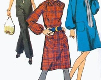 1970s Dress or Tunic and Pants Simplicity 9027 Vintage 70s RETRO Sewing Pattern Size 14 Bust 36 UNCUT
