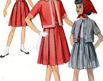 1950s Girls CUTEST Dress, Skirt, Short Jacket and Scarf Simplicity 4358 Vintage 50s Sewing Pattern Size 10