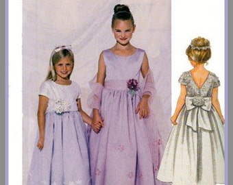 SPECIAL MOMENTS Girls Dress w/ Stole and Big Back Bow McCalls Sewing Pattern 2521 Size 4-6 UNCUT