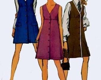Vintage 1960s V Neckline Mini Jumper Sewing Pattern Simplicity 8282 60s MAD MEN Sewing Pattern Size 12 Bust 34 Uncut