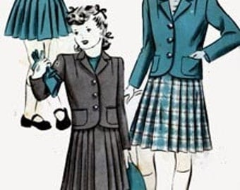 1940s Girls Boxed Jacket Suit with Pleated Skirt Vintage 40s Hollywood Pattern 1181 Sewing Pattern Size 10
