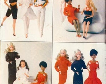 Vintage 1980s Fashion Doll Clothes Sewing Pattern Butterick 6170 80s Sewing Pattern Size 11.5 UNCUT