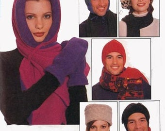 Vintage 1990s Womens Polar Fleece Hat Scarf Mittens Scarf Cowl Neck Sewing Pattern McCalls 7805 Head Size 22 - 24 Inches UNCUT