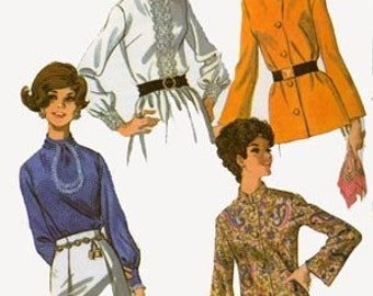 CLEARANCE SALE Vintage 60s McCalls 9511 Womens MOD Meditation or Guru Shirt with Bell Sleeves Sewing Pattern Size 8 Bust 31.5