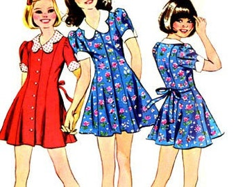 1970s Girls DOLLY Babydoll Dress Simplicity 5876 70s Vintage Sewing Pattern Size 12 Bust 30