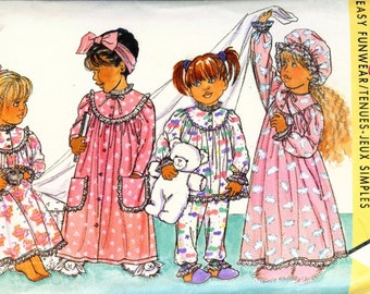 Vintage 80s Butterick 4413 BUSYBODIES Childrens Robe, nightgown, Hat and Pajamas Sewing Pattern Size 5 to 6X