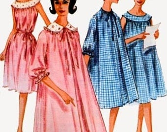 Vintage 1960s Smocked NIGHTGOWN DUSTER Sewing Pattern McCalls 6242 60s MOD Lingerie Sleepwear Sewing Pattern Size 12 Bust 32