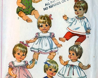 Simplicity 7970 Baby Doll Wardrobe Medium 15 -17 inch like Betsy Wetsy, Baby Giggles, Baby Crawl a long, Tubsy Vintage 60s Sewing Pattern