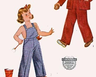 Vintage 1940s Toddlers Overalls, Jacket and Cap Sewing Pattern Simplicity 4114 Childrens 40s Sewing Pattern Size 4