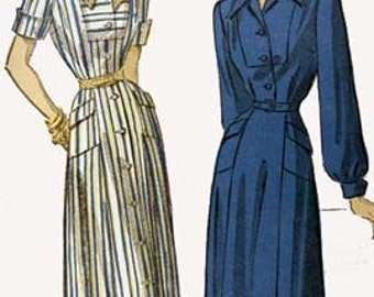 CLEARANCE SALE 1940s AFTERNOON Dress Advance 4883 Vintage 40s Sewing Pattern Size 16 Bust 34